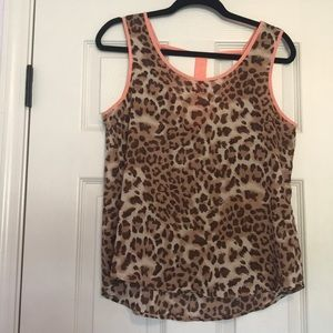 Sheer cheetah tank with coral detail